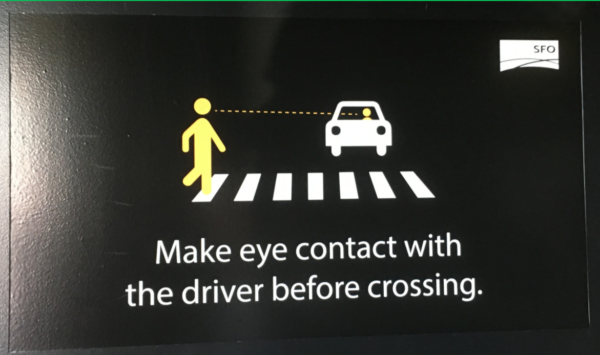 SFO hot trigger crossing road make eye contract with the driver before crossing
