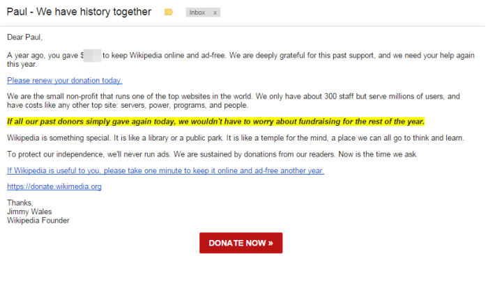 Wikipedia donation consistency email