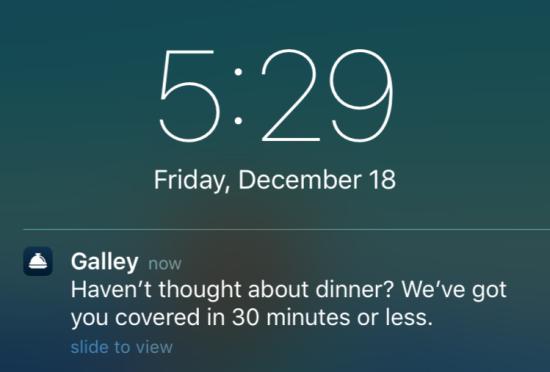 galley contextual alert